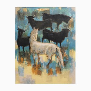 The Horses and Bulls of the Camargue Lithograph by Robert Debiève, 1960s