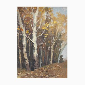 Forest's Edge in Autumn Painting, 1960s