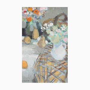 Natura morta con fiori e pittura di Jacques Petit, anni '70