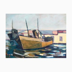 Old Fishing Boat Italian Tuscan School Painting, 1972
