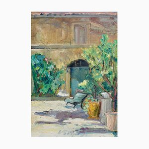 Villa Courtyard in Provence French School Painting, 1930s