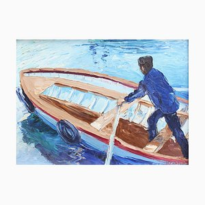 The Man in the Boat Painting by Mario Berrino, 1970s