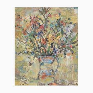 Floral Bouquet in Pitcher Painting by Joseph Paul Louis Bergès, 1930s