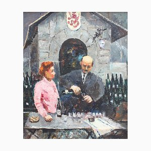 The Wines of Bergerac at the Paris Fair Painting by Germaine Nordmann, 1960s