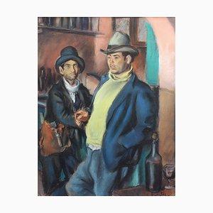 Männer trinken Wein in Algerien, Frankreich Gemälde von Charles Brouty, 1930er