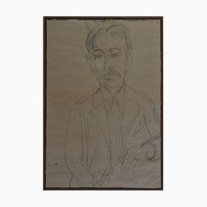 Antique Drawing of Marius André by Raoul Dufy