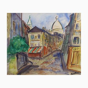 Montmartre View from Rue Lepic Painting by Roland DuBuc, 1970s