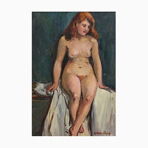 Portrait of Nude Redhead by Louise-Jeanne Cottard-Fossey, 1940s