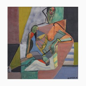 Cubist Nude Portrait of Seated Woman II by Kosta Stojanovitch, 1955