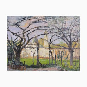 Springtime View of Italian Walled City Painting by M. Pozzo, 1960s