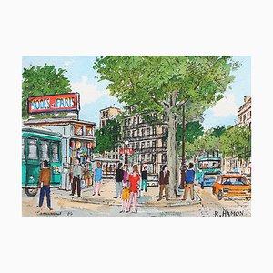 Paris Metro Station Painting by Roland Hamon, 1974