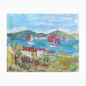 Gouache Scene II Riviera par Roland DuBuc, France, 1960s