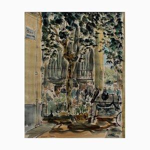 Encre Street Market et Aquarelle par Fiona Reid, Espagne, 1962