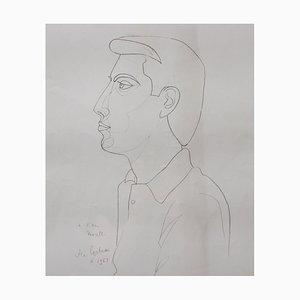 Portrait of Raymond Moretti Lithograph by Jean Cocteau, 1963