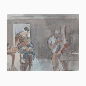 Carpenter and Nursing Mother Mixed Media Artwork by Pierre Ambrogiani, 1960s