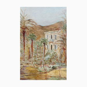 French Riviera Home Oil Painting by R. de Lamy, 1937