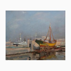 Mediterranean Port Oil Painting by Pere Soulere Martí, 1960s
