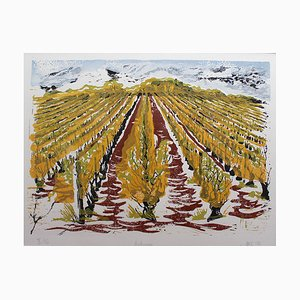Burgundy Vineyard Seasonal Views Linocut Prints by Jonquil Cook, 2007 & 2014, Set of 4