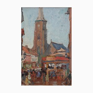 Belgian Market Square Oil Painting by Jean-René Nys, 1950s
