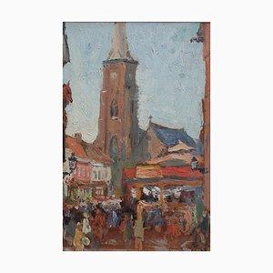 Belgisches Market Square Ölgemälde von Jean-René Nys, 1950er