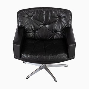 Mid-Century Black Leather Swivel Chair by Lystager, 1960s
