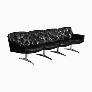 Mid-Century Black Leather 4-Seater Sofa by Lystager, 1960s