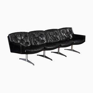 Schwarzes Mid-Century Leder 4-Sitzer Sofa von Lystager, 1960er