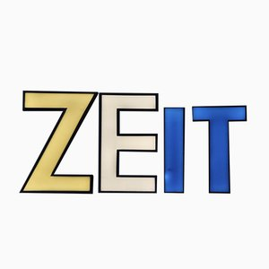 3-Dimensional Illuminated Zeit Sign, 1950s, Set of 4