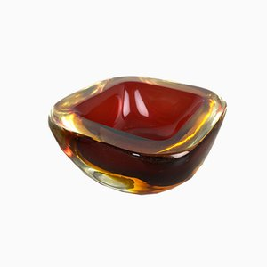 Vintage Red Murano Glass Sommerso Bowls, Set of 2