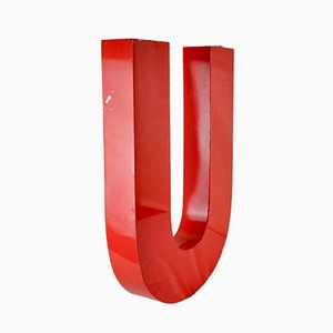 Painted Red Aluminium Letter U, 1970s