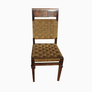 Walnut Dining Chairs, 1940s, Set of 8