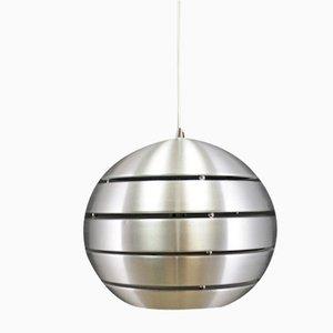 Runde dänische Vintage Deckenlampe aus versilbertem Metall in Silber