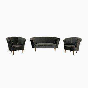 Vintage Samt Sofa und Sessel Set von Gio Ponti, 1950er