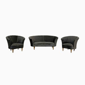 Vintage Velvet Sofa and Armchairs Set by Gio Ponti, 1950s
