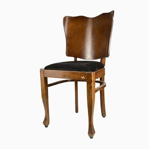 Italian Art Deco Fur & Wood Dining Chairs, 1920s, Set of 6
