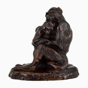 Escultura de mono francesa antigua de bronce de Thomas François Cartier