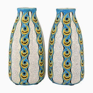 Art Deco Vases by Charles Catteau for Boch Frères, 1922, Set of 2