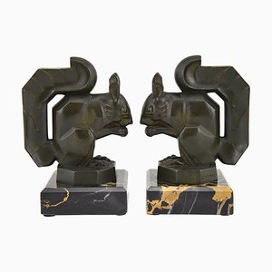 French Art Deco Squirrel Bookends by Max Le Verrier, 1930s, Set of 2