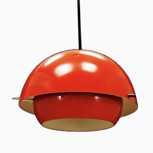 Mid-Century Danish Red Plastic Ceiling Lamp