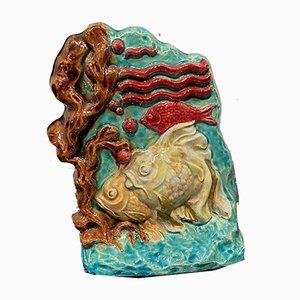 Keramik Fisch Skulptur von Susse Frères, 1930er