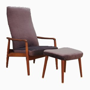 Mid-Century Danish Teak Lounge Chair and Ottoman Set by Søren Ladefoged for SL Mobler
