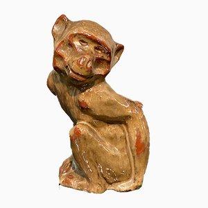 Affenskulptur aus Keramik, 1930er