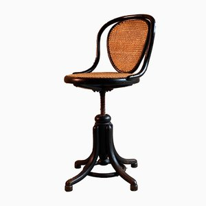 Antique Austrian Ebonized Bentwood Swivel Desk Chair by Michael Thonet for Thonet, 1900s