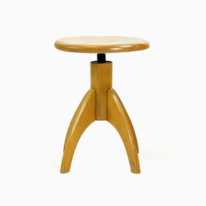 Mid-Century Czech Wooden Swivel Piano Stool, 1950s