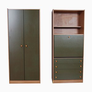 Mid-Century Formica Ebrille Wardrobe, Set of 2