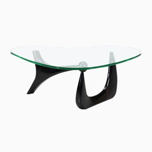 Mid-Century Ebony & Glass Coffee Table by Isamu Noguchi