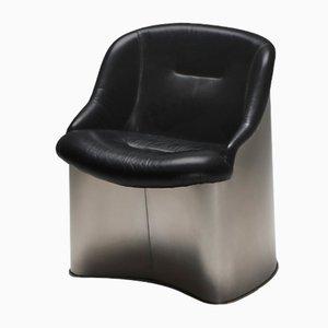 Leder & Metall Sessel von Boris Tabaccof, 1970er