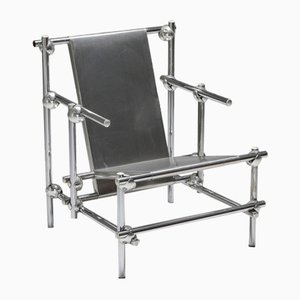 Postmodern Chromed Metal Lounge Chair, 1970s