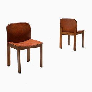 Cognacfarbene Leder Esszimmerstühle von Tobia & Afra Scarpa, 1970er, 6er Set