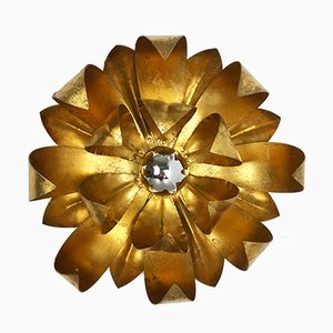 Mid-Century Italian Golden Metal Florentiner Leaf Theatre Wall light